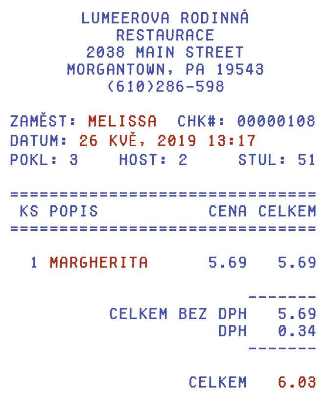 Účtenka z restaurace se zvýrazněnými atributy, které se použijí pro vytvoření pivot tabulky