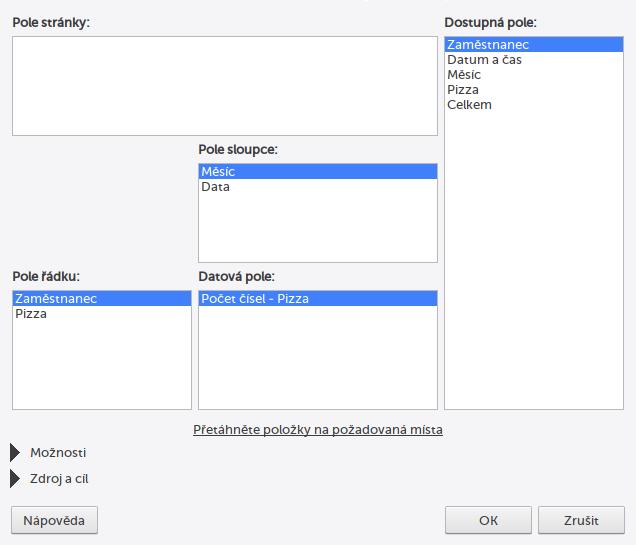 Nastavení pivot tabulky v LibreOffice