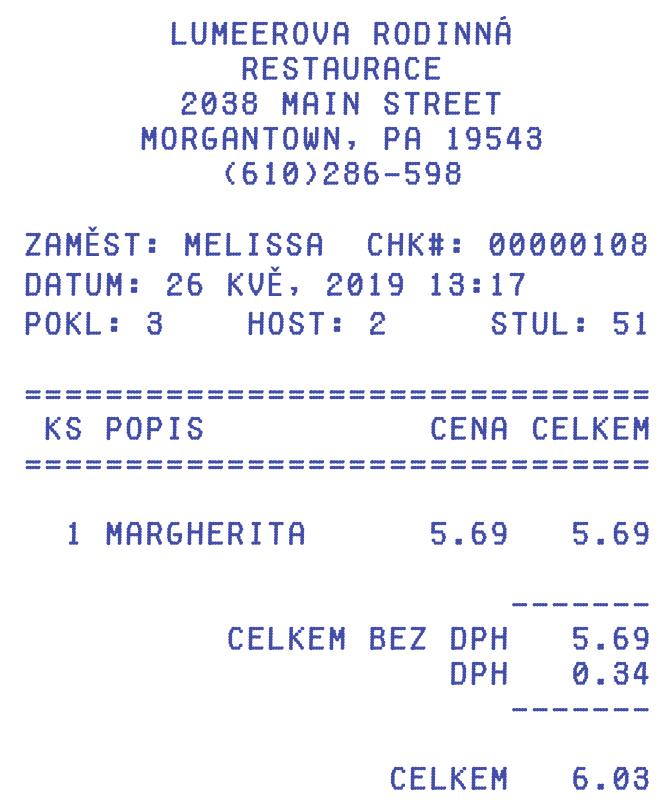 Účtenka z restaurace, která vypadá jako karta a jejíž atributy se použijí pro vytvoření pivot tabulky